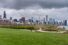 Chicago Skyline From South. Looking out over the Chicago Skyline and Lakeshore Drive from the lawn at the Field Museum stock photos