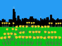 Chicago Skyline in springtime Royalty Free Stock Photo