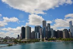 Chicago Skyline In Summer. Skyscrapers in Chicago Downtown in the summer time stock photography
