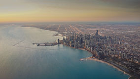 Chicago Skyline Sunrise Aerial. In Winter with Michigan Lake Stock Image