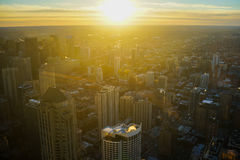 Chicago Skyline Sunrise Aerial. In Winter with Michigan Lake Royalty Free Stock Images