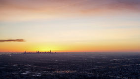Chicago Skyline Sunrise. From airplane window Stock Images