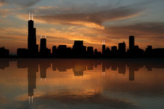 Chicago skyline at sunset Stock Photography