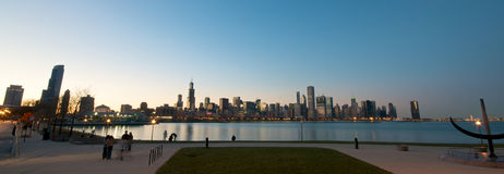 Chicago Skyline at sunset. Lakeview at the Chicago Skyline during sunset stock photos