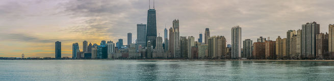 Chicago Skyline Sunset with Lake Michigan. In Winter Stock Image