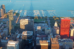 Chicago: skyline at sunset seen through the glass of the Willis Tower observation deck on September 22, 2014 Royalty Free Stock Image