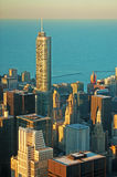 Chicago: skyline at sunset seen through the glass of the Willis Tower observation deck on September 22, 2014 Royalty Free Stock Photography