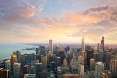 Chicago sunset time Royalty Free Stock Photography