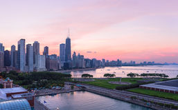 Chicago skyline during sunset Royalty Free Stock Photography