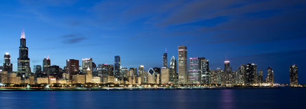 Chicago skyline at twilight Stock Image