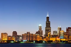 Chicago skyline at twilight. Stock Image