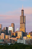 Chicago skyline at twilight. Royalty Free Stock Images