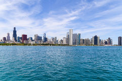 Chicago skyline. Chicago, USA - May 24, 2014: Panoramic view of the Chicago skyline seen from Lake Michigan Royalty Free Stock Image