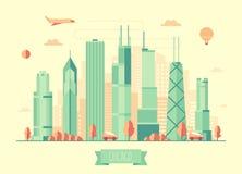 Chicago skyline vector illustration flat design Royalty Free Stock Photos