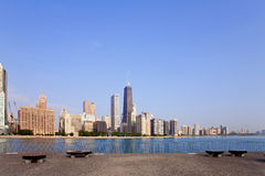 Chicago skyline. View from Milton Lee Olive Park, Chicago Stock Images