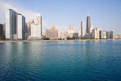 Chicago skyline. View from Milton Lee Olive Park, Chicago Stock Photos