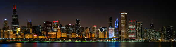 Chicago skyline view, night time. Panoramic photograph Stock Images