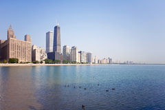Chicago skyline. View from Ohio street beach, Chicago Royalty Free Stock Photo