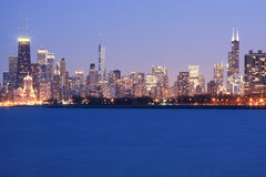 Chicago Skyline viewed from Montrose Harbor. The evening view of Chicago's Skyline from Montrose Harbor Royalty Free Stock Photo