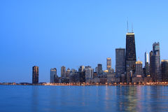 Chicago skyline viewed from the north. At dusk Royalty Free Stock Image