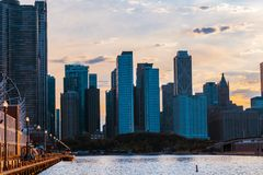 Chicago skyline viewed from the pier with sunset sky in the back stock photos
