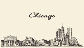 Chicago skyline vintage illustration drawn sketch. Chicago skyline vintage engraved illustration hand drawn sketch Stock Photography