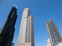 Chicago-Skyline vom Fluss Lizenzfreies Stockbild