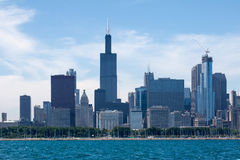 Chicago Skyline Willis Tower. The modern tower glass buildings of Chicago including Willis tower skyscraper at the shore of Michigan Lake. Illinois, USA royalty free stock image