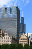 Chicago skyline with Willis Tower. A cluster of Chicago buildings including the Willis Tower Stock Photography