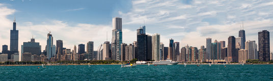 Chicago Skyline Willis Tower. The modern tower glass buildings of Chicago including Willis tower skyscraper at the shore of Michigan Lake. Illinois, USA stock image