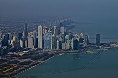 Chicago Skyline. Window seat provided enough sun to catch a glimpse of the Chicago Skyline, and water view royalty free stock photo