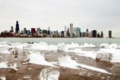 Chicago skyline winter Royalty Free Stock Photography
