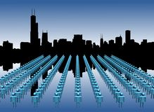 Chicago skyline with workers Stock Image