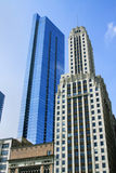 Chicago Skyscrapers. View of new and old skyscrapers against a blue sky in Chicago, Illinois stock images