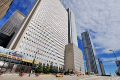 Chicago skyscrapers group and street, Illinois. City skyscrapers group and street in Chicago, Illinois, United States Stock Images