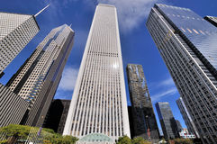 Chicago skyscrapers, Illinois. City skyscrapers group and street in Chicago, Illinois, United States Stock Photos