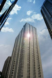 Chicago Skyscrapers. In perspective from below with light, vertical Royalty Free Stock Images