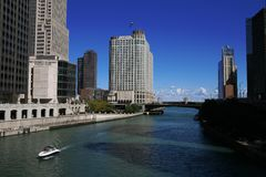 Chicago - Skyscrapers And River Stock Image