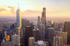 Chicago skyscrapers at sunset stock image