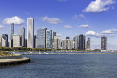 Chicago som är i stadens centrum i nedgånglandskap Royaltyfri Foto