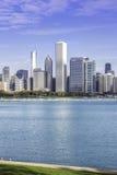 Chicago som är i stadens centrum i nedgånglandskap Royaltyfri Fotografi