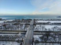 Chicago som ser Lake Michigan royaltyfria foton