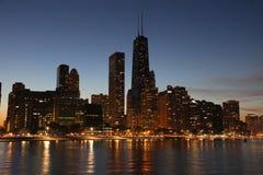 Chicago som solnedgång Arkivfoto