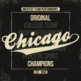 Chicago sportswear emblem. Athletic university apparel design with lettering and grunge. T-shirt graphics stock illustration