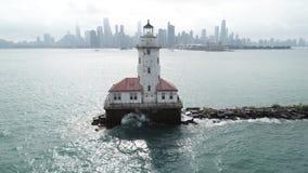 Chicago stad Scape med Lighhouse royaltyfri fotografi