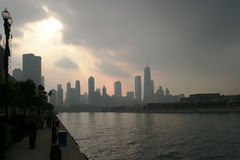 Chicago - Before the Storm. Downtown view from the Navy Pier royalty free stock image