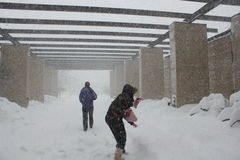 Chicago Storm -- Students at IIT Royalty Free Stock Photos
