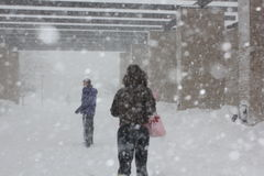 Chicago Storm -- Students at IIT Stock Photos