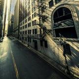 Chicago-Straßensonnenaufgang stockbilder