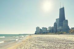 Chicago strand mot solen, USA Royaltyfri Foto
